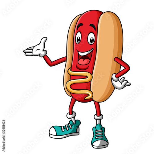 Cartoon hotdog mascot character presenting #324113608