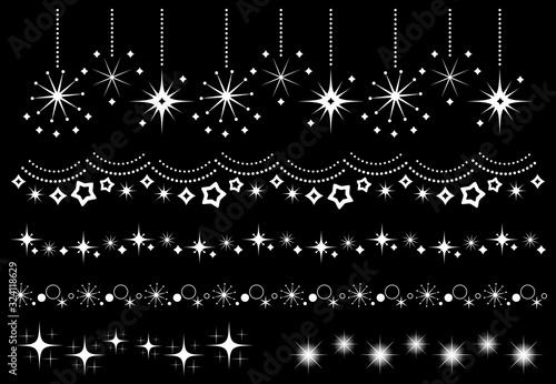 Cuadros en Lienzo キラキラ 星 装飾セット(白)
