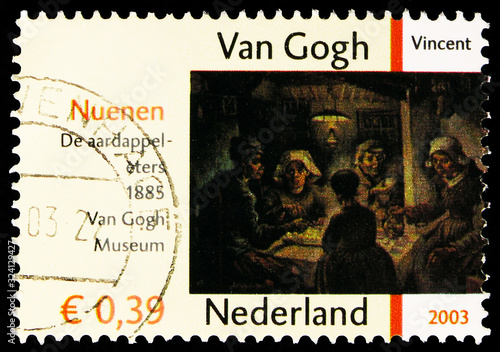 Papel de parede Postage stamp printed in Netherlands shows The Potato Eaters, Vincent van Gogh's