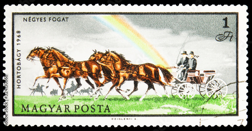 Fotografia Postage stamp printed in Hungary shows Four-in-hand, National Park - Hortobagy s