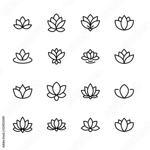 Fototapety, obrazy: Modern thin line icons set of lotus.