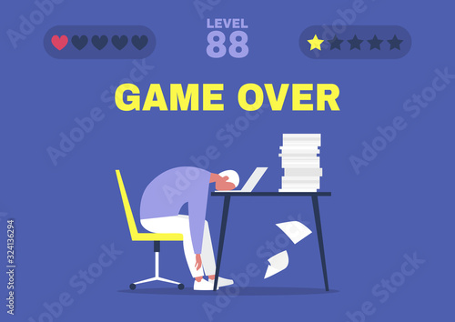 Fotografía Game over, professional burnout, Young exhausted male manager sitting at the off