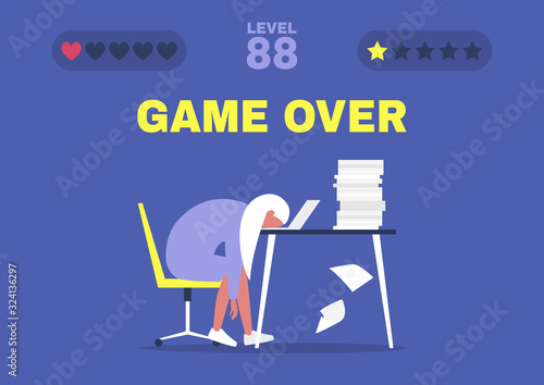 Cuadros en Lienzo Game over, professional burnout, Young exhausted female manager sitting at the o