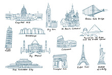 Set Of Most Famous Sights Of The World. Collection Of Famous Buildings And Monuments Of Different Countries And Cities. Vector Line Illustrations In Sketch Style, Isolated.