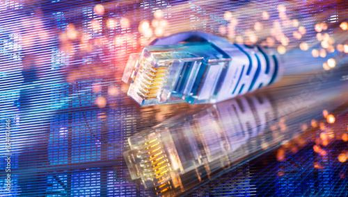 Obraz network cables with fiber optical background - fototapety do salonu
