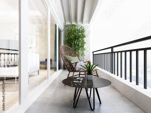 There are green plants, chairs and tables on the open balcony of modern design Wallpaper Mural