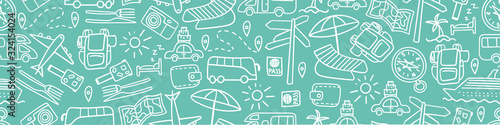 Horizontal seamless border with hand drawn travel doodles. Vacation background. Vector illustration.