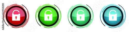 Padlock round glossy vector icons, security set of buttons for webdesign, intern Tableau sur Toile