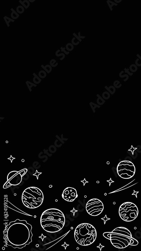 Cosmos template for stories, empty space for text. Hand-drawn doodle stars and planets of the solar system, white line art on black backround. Vertical format. Stock vector illustration isolated.