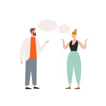 Bearded Male Talking To Female With Speech Bubbles Vector Flat Illustration. Angry Couple Discussing Each Other Isolated On White Background. Irritating Woman And Man Having Conversation