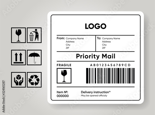 Fotografía Shipment label template