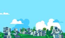 Panoramica Città, Villaggio Con Case E Alberi Verdi, Sfondo Cielo Blu Con Nuvole - Illustrazione Vettoriale