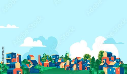 Panoramica città, villaggio con case e alberi verdi, sfondo cielo blu con nuvole Wallpaper Mural