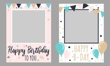 Collection Of Two Happy Birthday To You Frames Vector Illustration. Set Of White And Pink Collage For Memorable Picture Cartoon Design. Celebration And Party Concept
