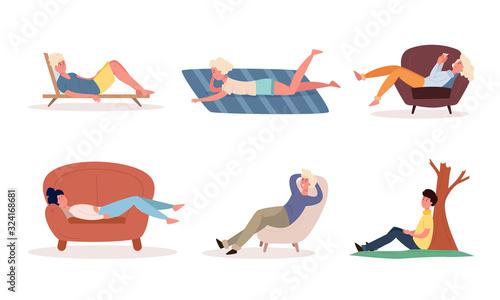 Obraz People enjoying rest in armchairs, sunbeds, on floor vector illustration - fototapety do salonu