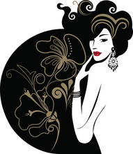 Vector Clipart Beauty Silhuette Woman, Fashion Illustration, Beauty Female Face