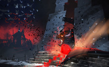 Digital Illustration Painting Design Style Giant Bat Devil Is In The Hell Gate, Against Abandoned Village And Flying Bats Colony.