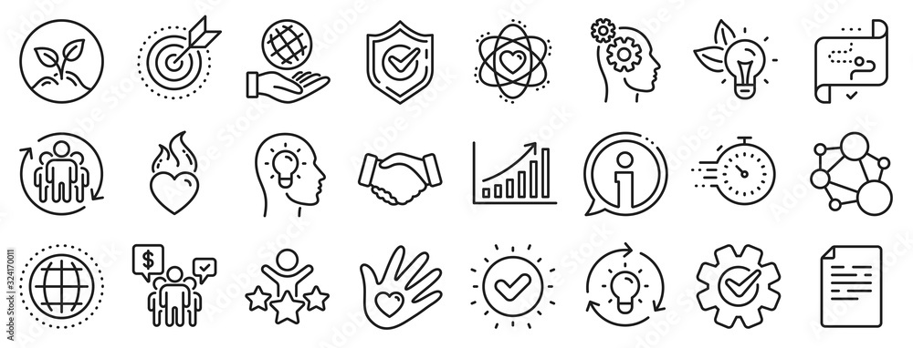 Fototapeta Integrity, Target purpose and Strategy. Core values line icons. Trust handshake, social responsibility, commitment goal icons. Growth chart, innovation, core values network. Vector