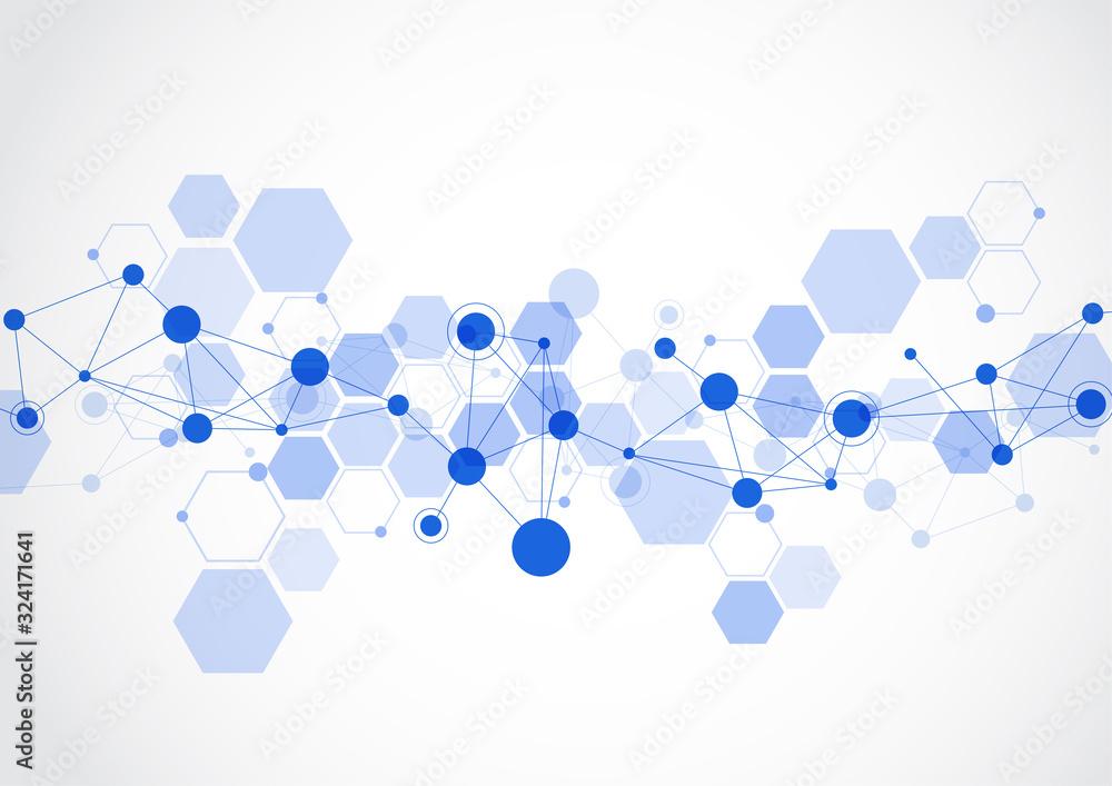 Fototapeta Molecular structure abstract tech background. Medical design. Vector illustration
