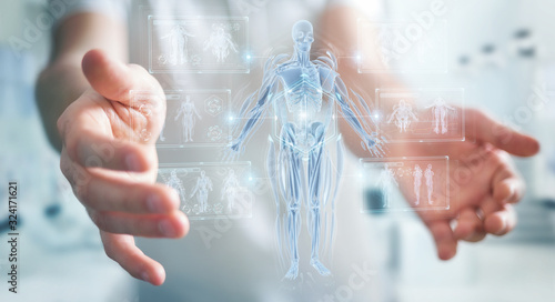 Fotografía Man using digital x-ray human body holographic scan projection 3D rendering