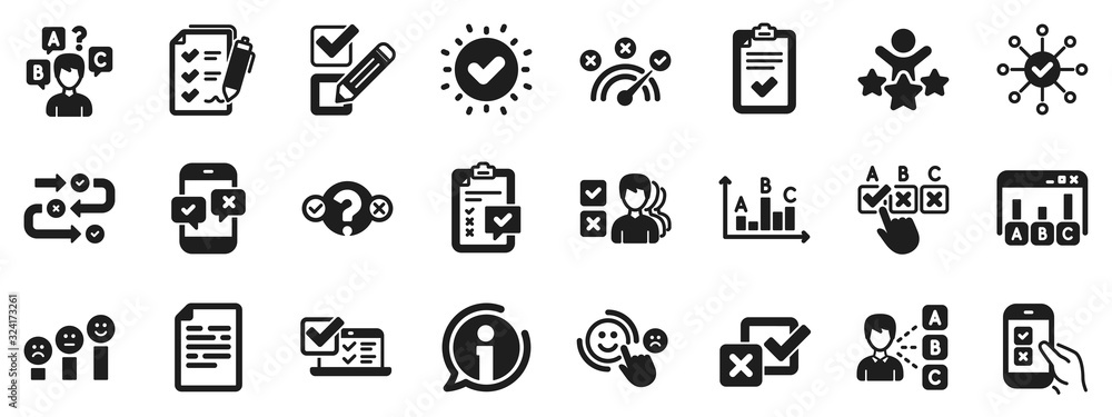 Fototapeta Opinion, Customer satisfaction feedback and Test icons. Survey, Report review icons. Checklist review, Quiz and Business report symbols. Evaluation quiz, Feedback chart, Management. Vector