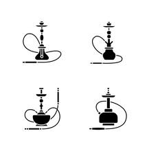 Hookah Black Glyph Icons Set O...