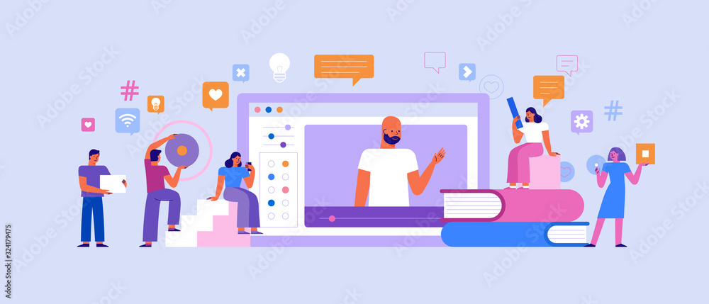 Fototapeta Vector illustration in flat simple style with characters - online education concept - students studying and learning using online platform and video course