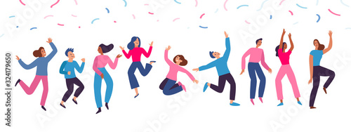 Vector illustration in flat simple style - happy jumping team - smiling men and women dancing