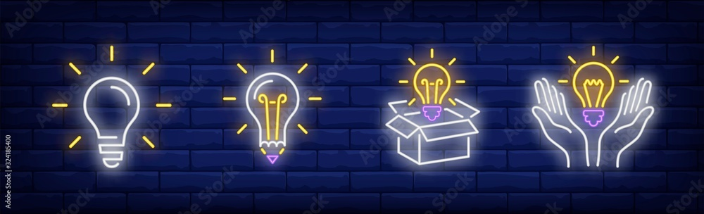 Fototapeta Lightbulbs neon sign set. Bulb, lamp, box, hands. Vector illustration in neon style, bright banner for topics like illumination, inspiration, idea
