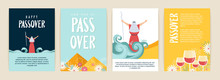 Passover Greeting Card Set. Seder Pesach Invitation, Greeting Card Template Or Holiday Flyers. Moses Separate Sea For Passover Holiday, Flat Design Vector Set