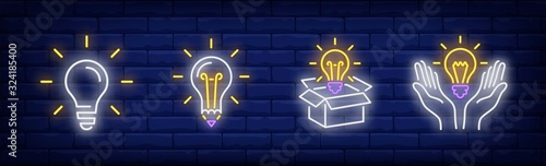 Lightbulbs neon sign set. Bulb, lamp, box, hands. Vector illustration in neon style, bright banner for topics like illumination, inspiration, idea