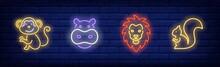 Wild Animals Neon Sign Set. Mo...