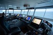 Inside look of the control centre of a superyacht on the sea