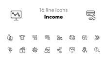 Income Line Icon Set. Truck Wi...