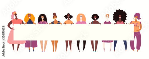 Fotografía Hand drawn vector illustration of diverse girls holding a banner