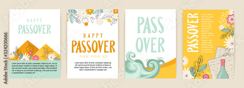 Fototapeta Passover greeting car set. Seder pesach invitation, greeting card template or holiday flyer. happy Passover in English and Hebrew. obraz
