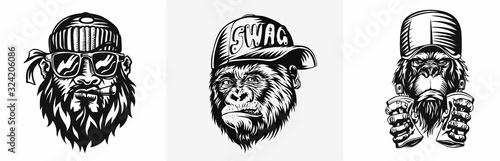 Valokuva Monkey with cap for t-shirt print Design, vector illustration