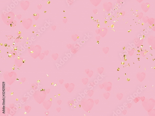 Fototapeta romantic holiday blur background with golden elements ,flying hearts , petal copy space pink pastel  yellow light colored banner for Christmas wedding valentine women day greetings card  obraz na płótnie