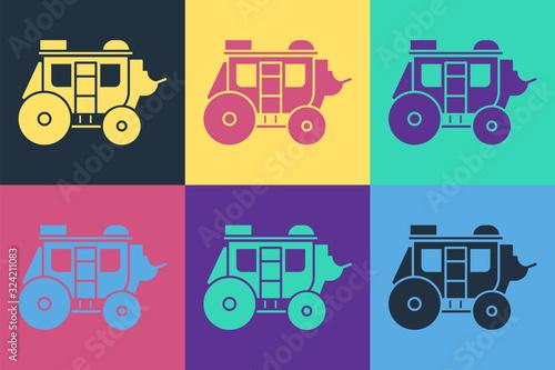 Valokuvatapetti Pop art Western stagecoach icon isolated on color background
