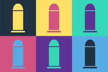 Pop Art Bullet Icon Isolated O...