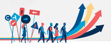 Persone Che Seguono Strade Diverse. Segnali E Indicazioni - Illustrazione Vettoriale