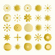 Set of hand drawn golden suns. Vector isolated illustration.