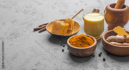 Ayurvedic drink golden almond milk or pumpkin turmeric latte