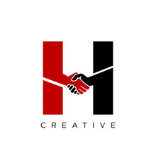 H Handshake Logo Design Vector Icon