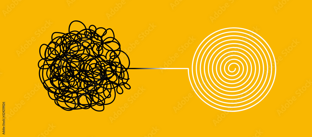 Fototapeta Tangle and untangle, psychotherapy and psychology concept. Tangled vector line illustration. Doodle. Abstract change graphic. Problems solution creative design concept