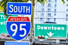 Interstate 95 Street Sign With Blue Sky , Miami City Florida Usa America