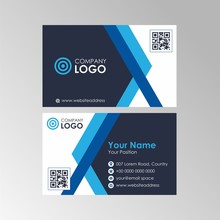 Simple Flat Geometric Blue And Black Business Card With Qr Code Design, Professional Name Card Template Vector