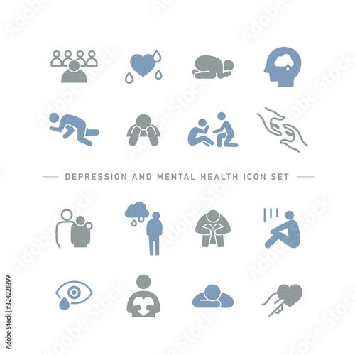 Stampa su Tela DEPRESSION AND MENTAL HEALTH ICON SET