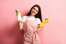 Happy Housewife In Apron And R...