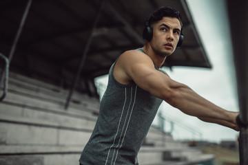 Sportsman taking break from training
